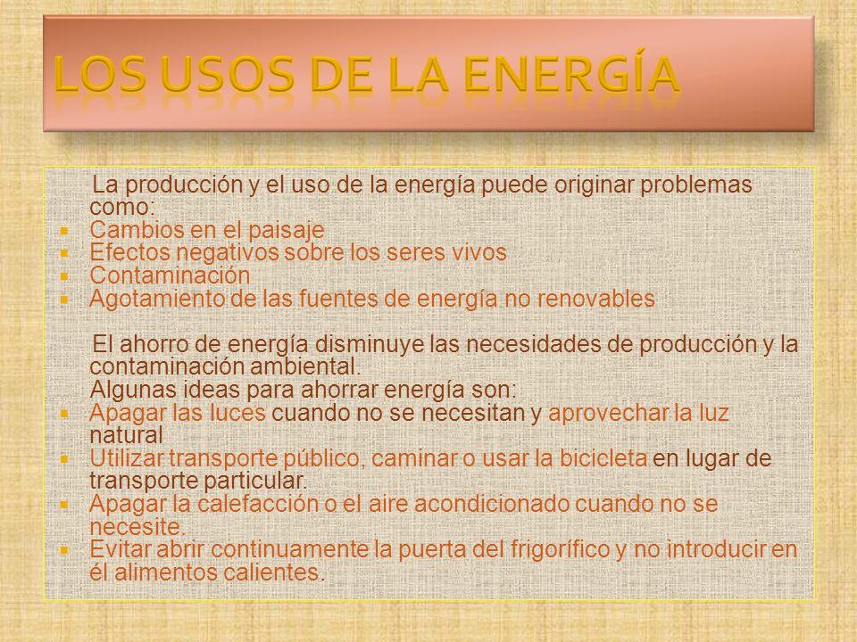 LOS USOS DE LA ENERGÍA La producción y el uso de la energía puede originar problemas como: Cambios en el paisaje.
