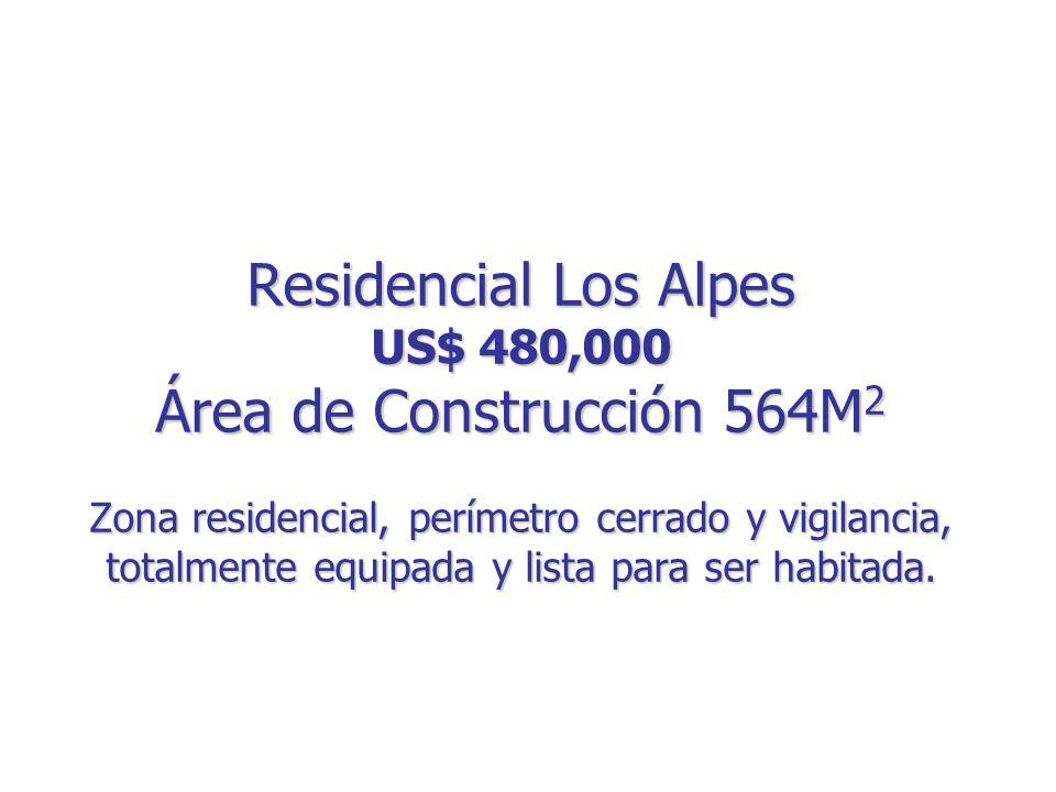 Residencial Los Alpes US$ 480,000 Área de Construcción 564M2 Zona residencial, perímetro cerrado y vigilancia, totalmente equipada y lista para ser habitada.