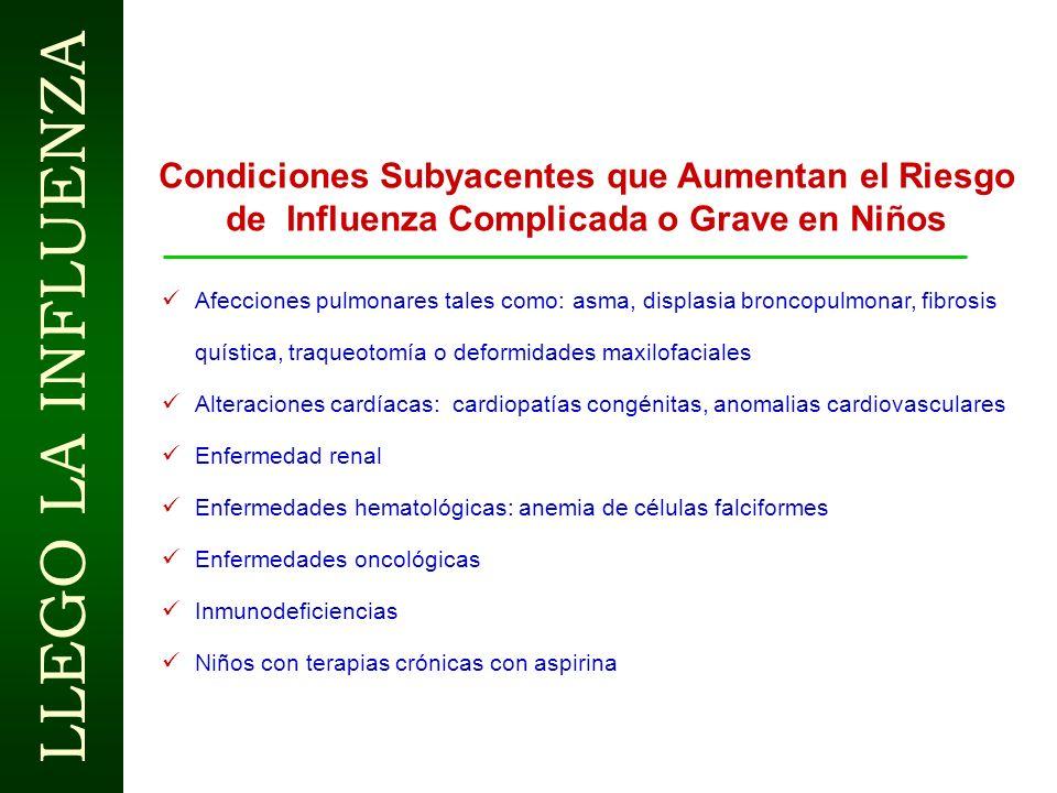 Condiciones Subyacentes que Aumentan el Riesgo de Influenza Complicada o Grave en Niños