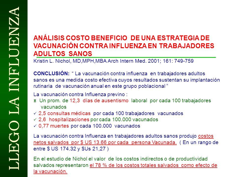 ANÁLISIS COSTO BENEFICIO DE UNA ESTRATEGIA DE VACUNACIÓN CONTRA INFLUENZA EN TRABAJADORES ADULTOS SANOS