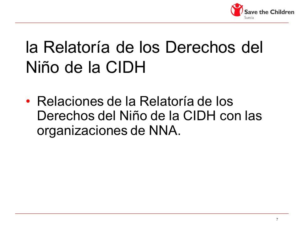 la Relatoría de los Derechos del Niño de la CIDH