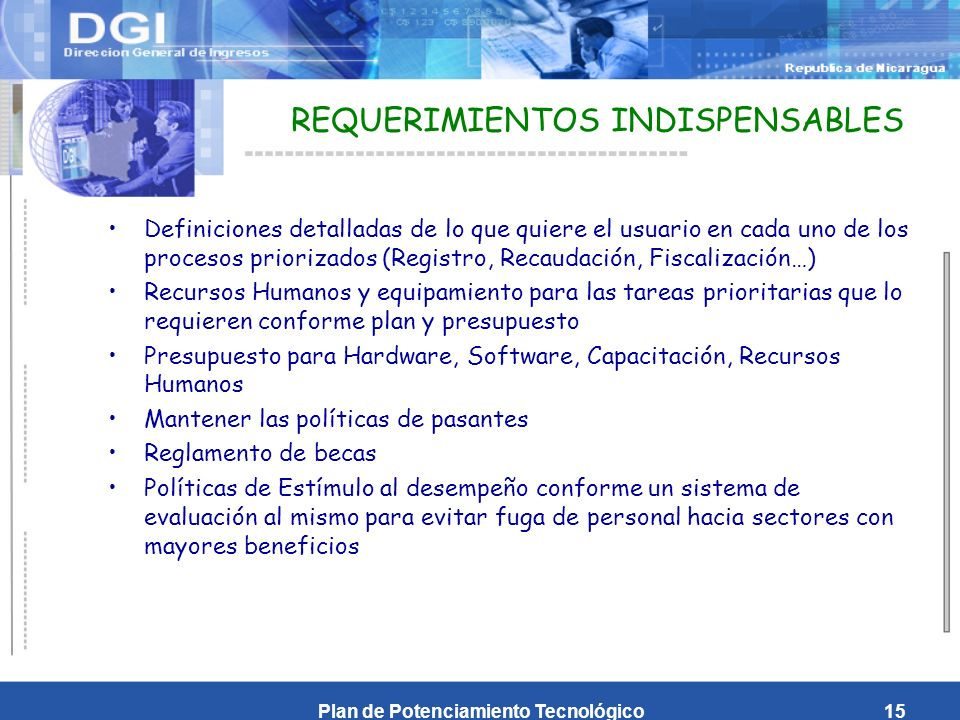 REQUERIMIENTOS INDISPENSABLES