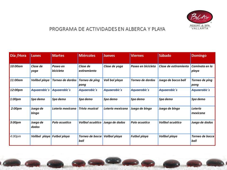 PROGRAMA DE ACTIVIDADES EN ALBERCA Y PLAYA