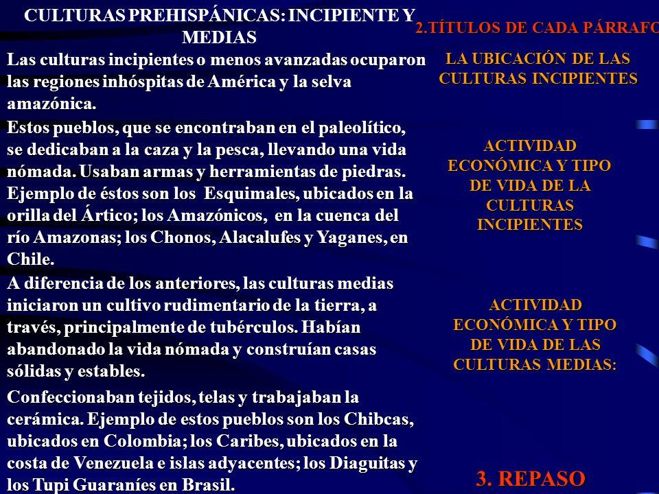 3. REPASO CULTURAS PREHISPÁNICAS: INCIPIENTE Y MEDIAS