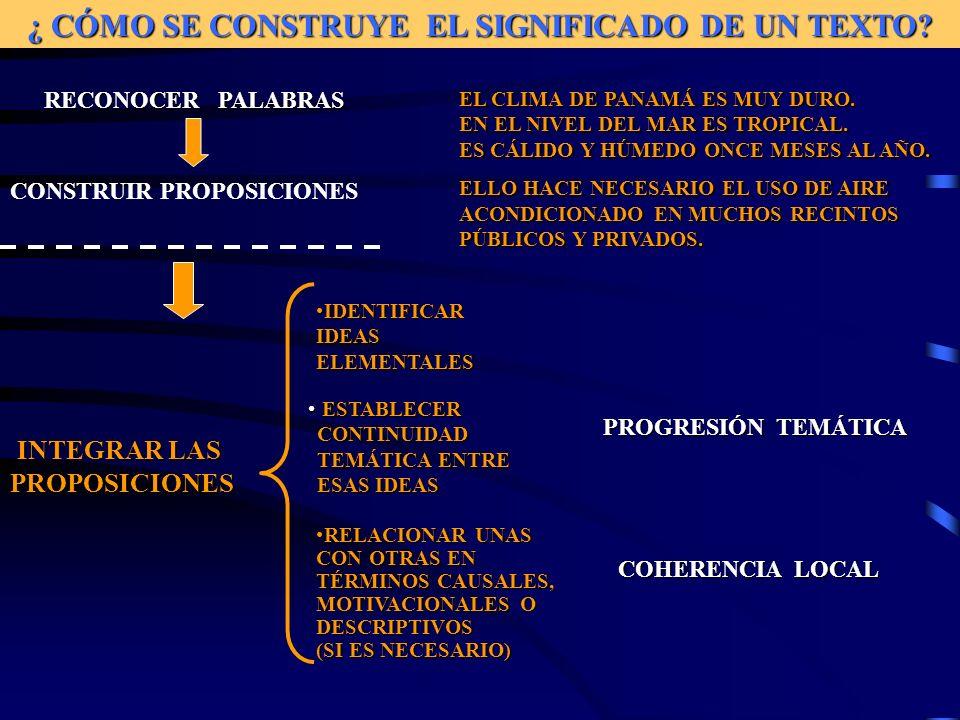 ¿ CÓMO SE CONSTRUYE EL SIGNIFICADO DE UN TEXTO