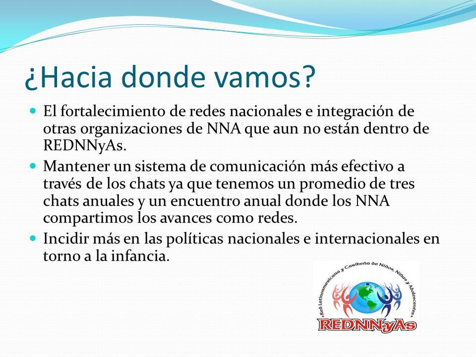 ¿Hacia donde vamos El fortalecimiento de redes nacionales e integración de otras organizaciones de NNA que aun no están dentro de REDNNyAs.