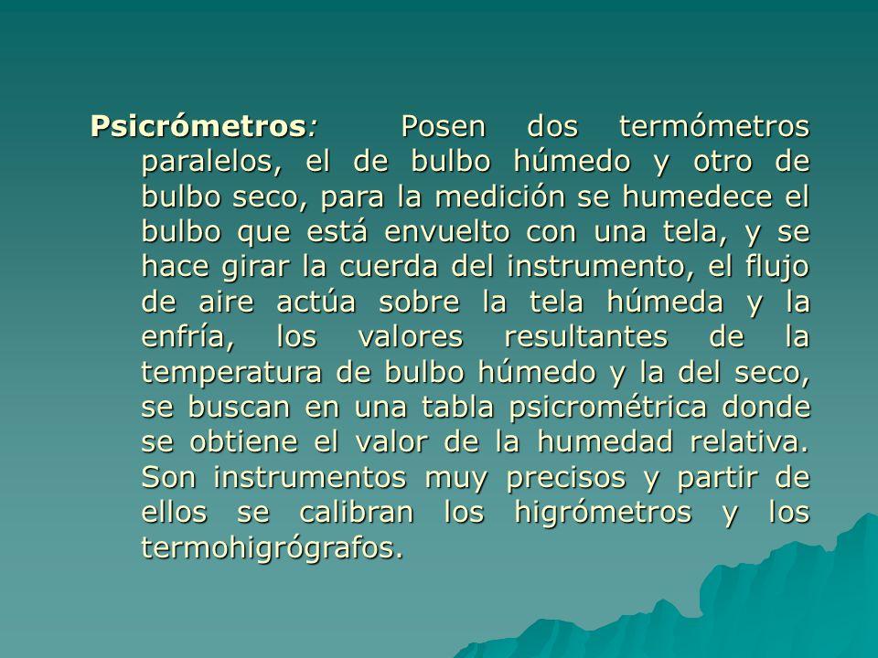 Psicrómetros: Posen dos termómetros paralelos, el de bulbo húmedo y otro de bulbo seco, para la medición se humedece el bulbo que está envuelto con una tela, y se hace girar la cuerda del instrumento, el flujo de aire actúa sobre la tela húmeda y la enfría, los valores resultantes de la temperatura de bulbo húmedo y la del seco, se buscan en una tabla psicrométrica donde se obtiene el valor de la humedad relativa.