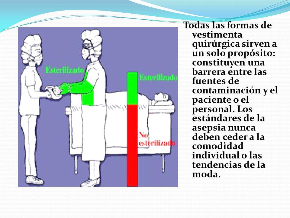 Todas las formas de vestimenta quirúrgica sirven a un solo propósito: constituyen una barrera entre las fuentes de contaminación y el paciente o el personal.