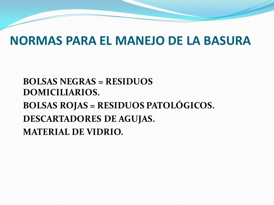 NORMAS PARA EL MANEJO DE LA BASURA