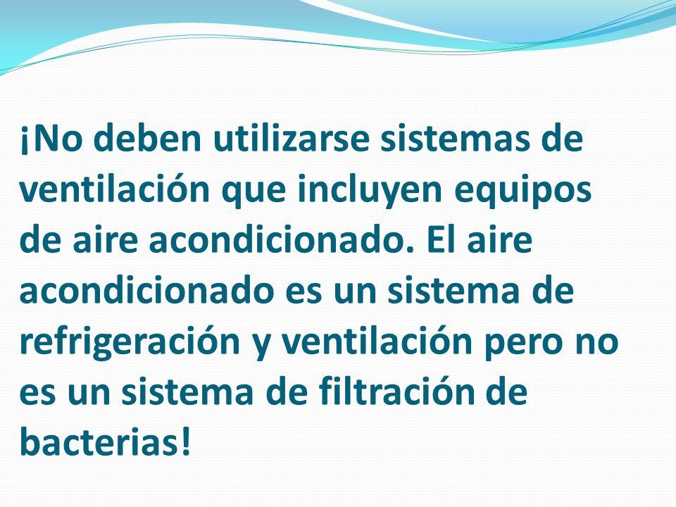 ¡No deben utilizarse sistemas de ventilación que incluyen equipos de aire acondicionado.