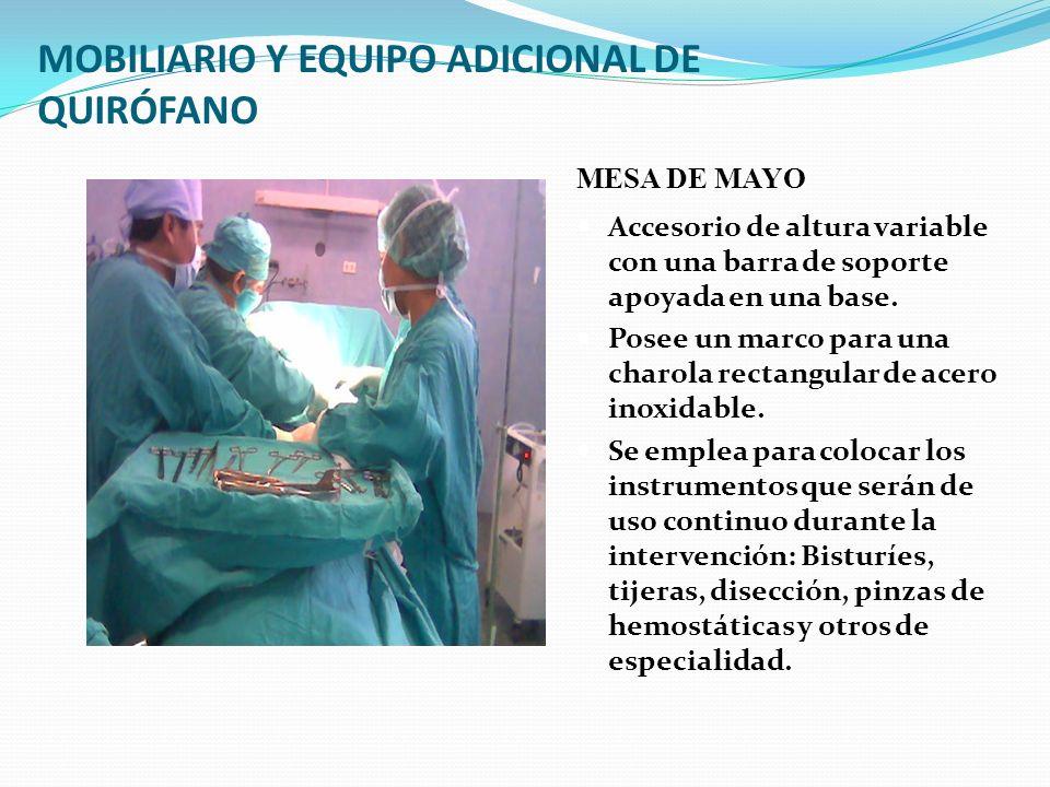 MOBILIARIO Y EQUIPO ADICIONAL DE QUIRÓFANO