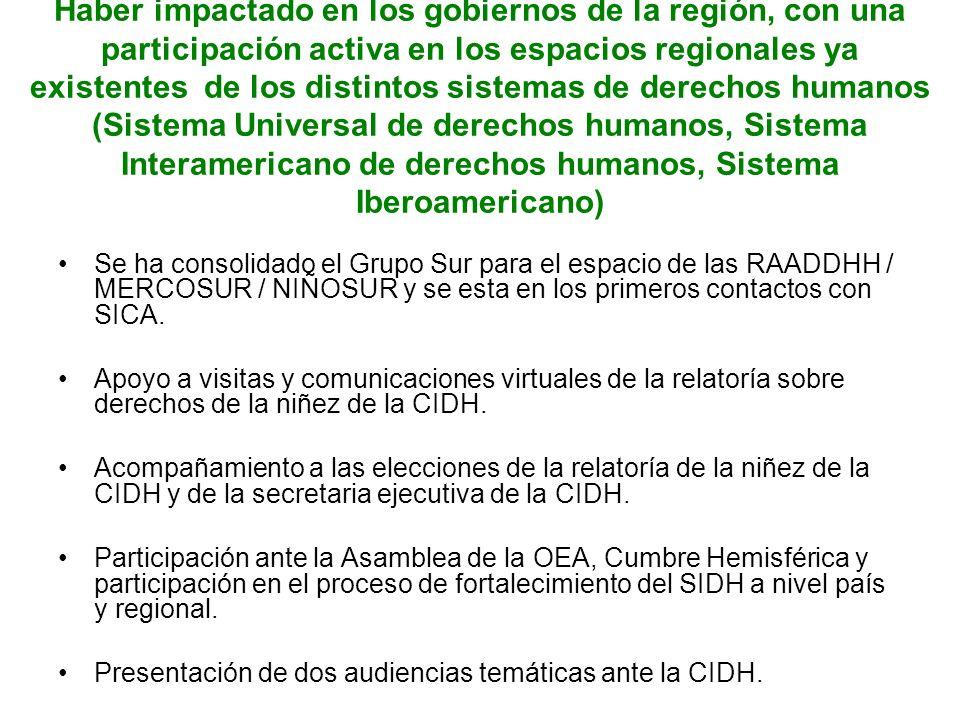Haber impactado en los gobiernos de la región, con una participación activa en los espacios regionales ya existentes de los distintos sistemas de derechos humanos (Sistema Universal de derechos humanos, Sistema Interamericano de derechos humanos, Sistema Iberoamericano)