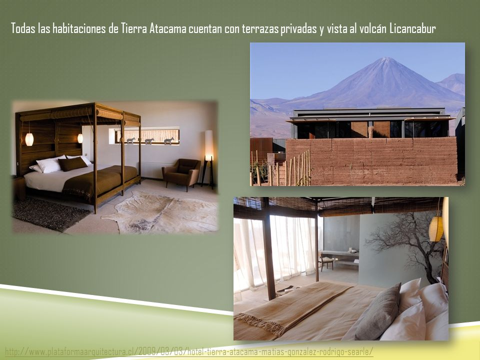 Todas las habitaciones de Tierra Atacama cuentan con terrazas privadas y vista al volcán Licancabur