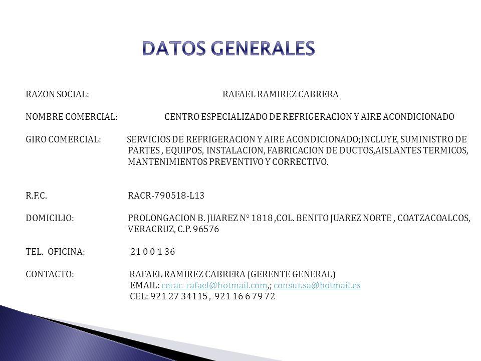 DATOS GENERALES RAZON SOCIAL: RAFAEL RAMIREZ CABRERA