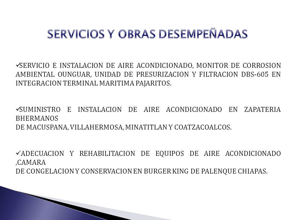 SERVICIOS Y OBRAS DESEMPEÑADAS