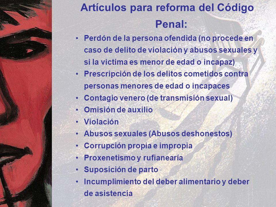 Artículos para reforma del Código Penal: