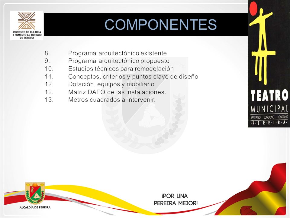 COMPONENTES 8. Programa arquitectónico existente