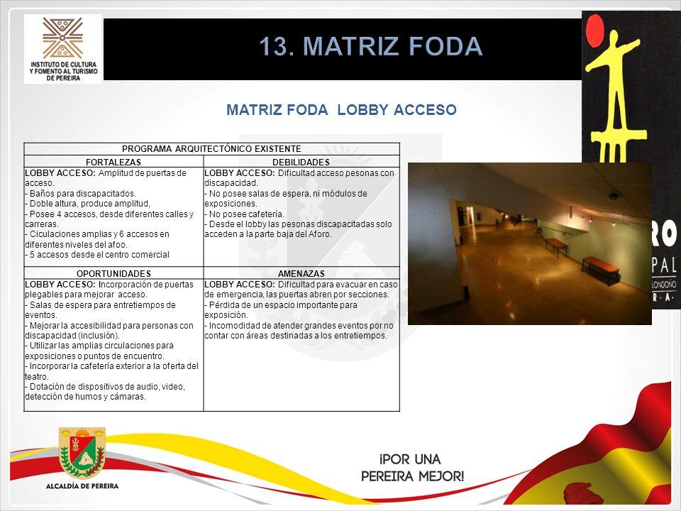 MATRIZ FODA LOBBY ACCESO PROGRAMA ARQUITECTÓNICO EXISTENTE