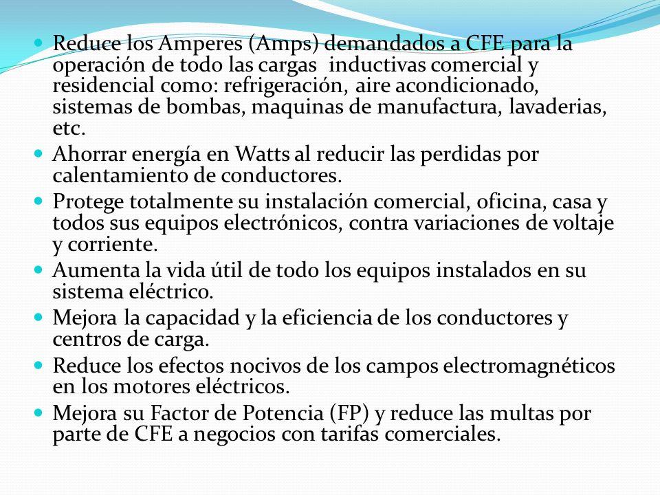 Reduce los Amperes (Amps) demandados a CFE para la operación de todo las cargas inductivas comercial y residencial como: refrigeración, aire acondicionado, sistemas de bombas, maquinas de manufactura, lavaderias, etc.