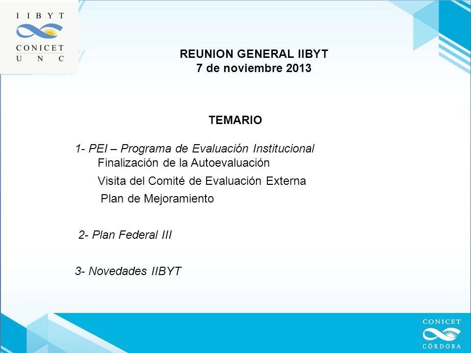 REUNION GENERAL IIBYT 7 de noviembre 2013. TEMARIO. 1- PEI – Programa de Evaluación Institucional.