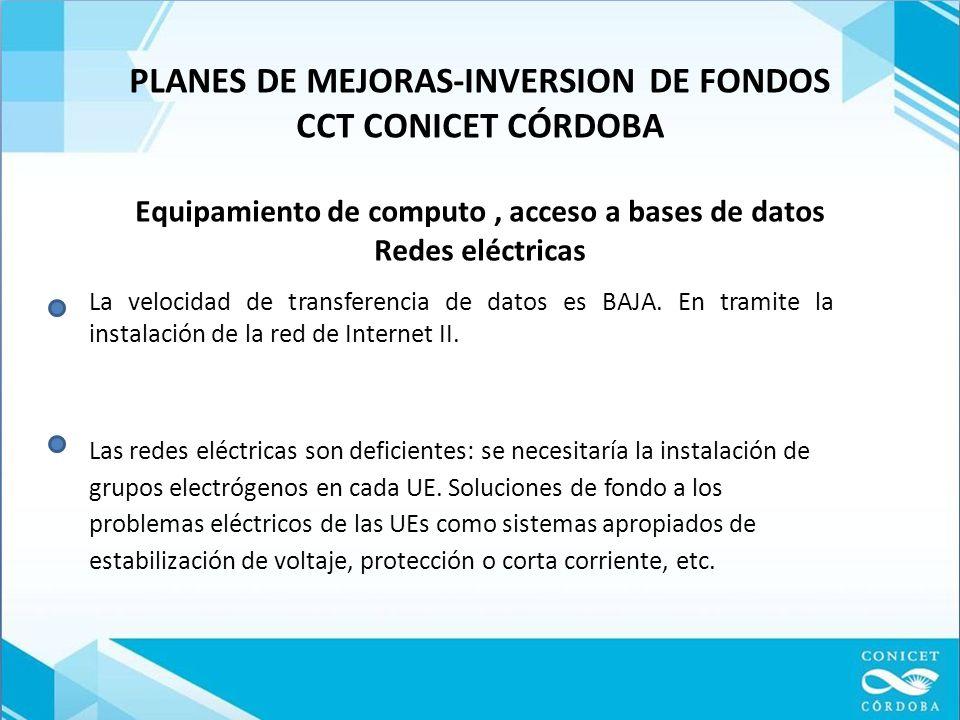 PLANES DE MEJORAS-INVERSION DE FONDOS CCT CONICET CÓRDOBA