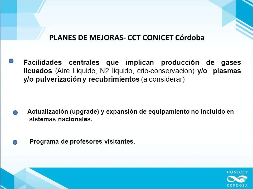PLANES DE MEJORAS- CCT CONICET Córdoba