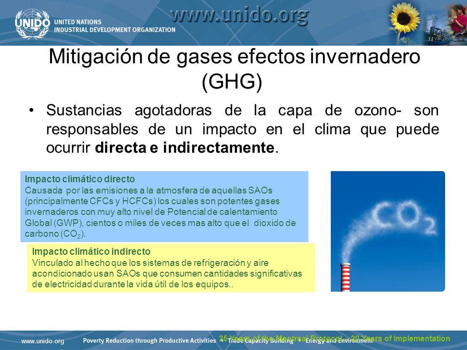 Mitigación de gases efectos invernadero (GHG)