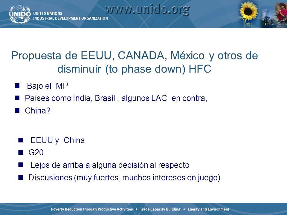 Propuesta de EEUU, CANADA, México y otros de disminuir (to phase down) HFC
