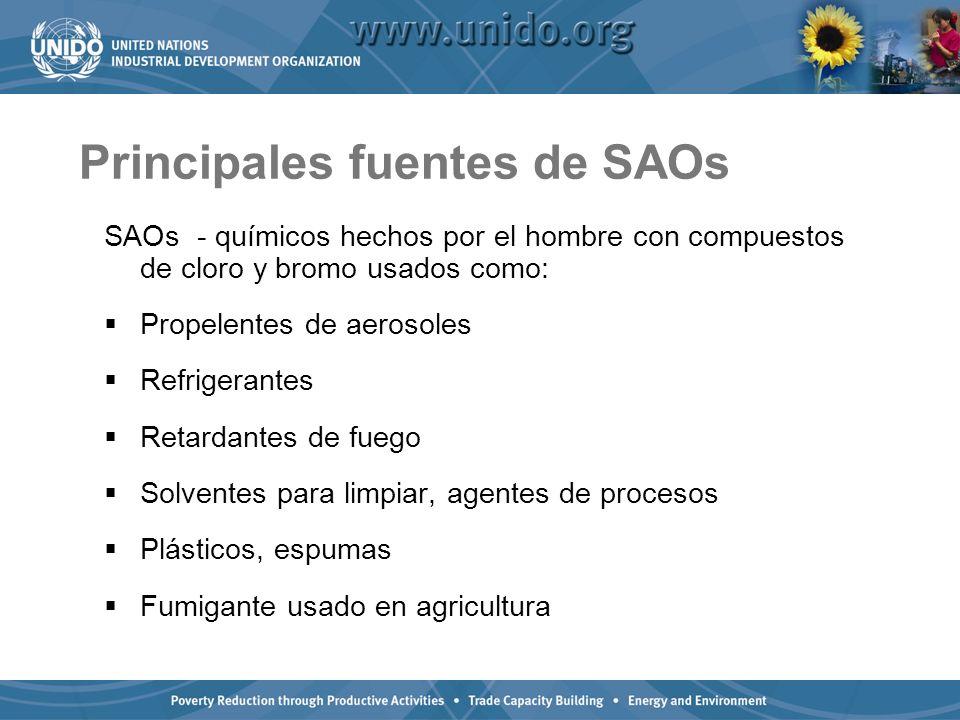 Principales fuentes de SAOs