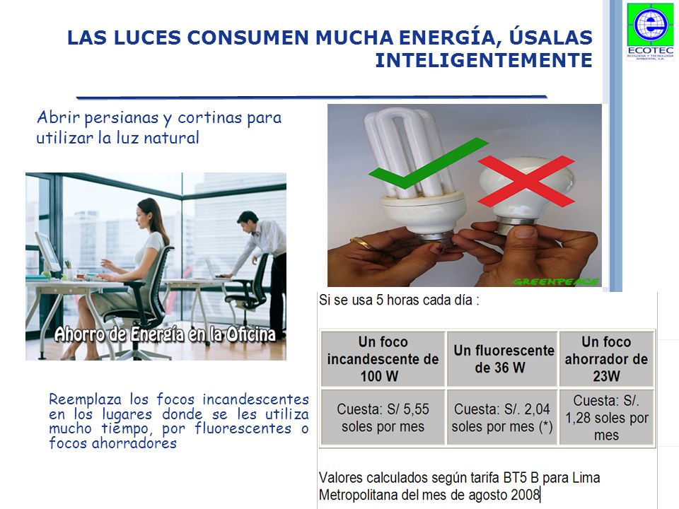 LAS LUCES CONSUMEN MUCHA ENERGÍA, ÚSALAS INTELIGENTEMENTE