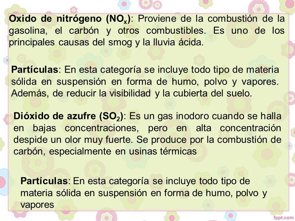 Oxido de nitrógeno (NOx): Proviene de la combustión de la gasolina, el carbón y otros combustibles. Es uno de los principales causas del smog y la lluvia ácida.