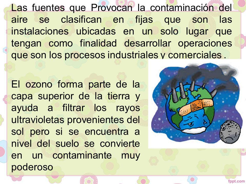 Las fuentes que Provocan la contaminación del aire se clasifican en fijas que son las instalaciones ubicadas en un solo lugar que tengan como finalidad desarrollar operaciones que son los procesos industriales y comerciales .