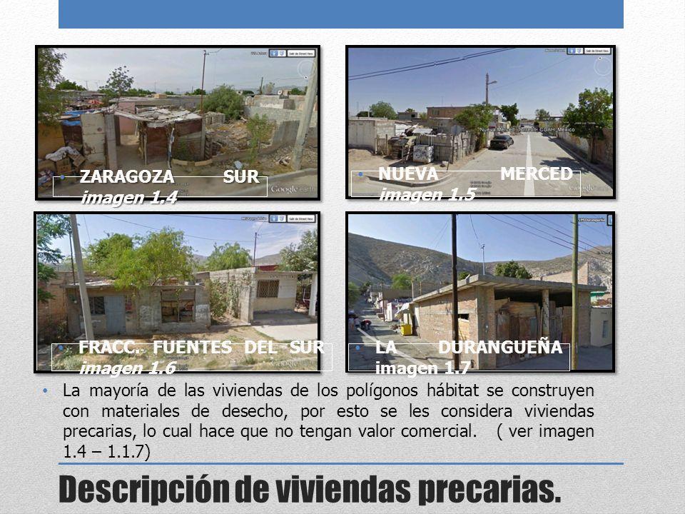 Descripción de viviendas precarias.