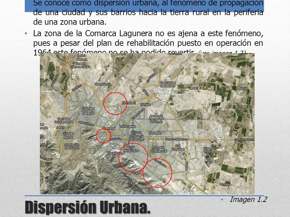 Se conoce como dispersión urbana, al fenómeno de propagación de una ciudad y sus barrios hacia la tierra rural en la periferia de una zona urbana.