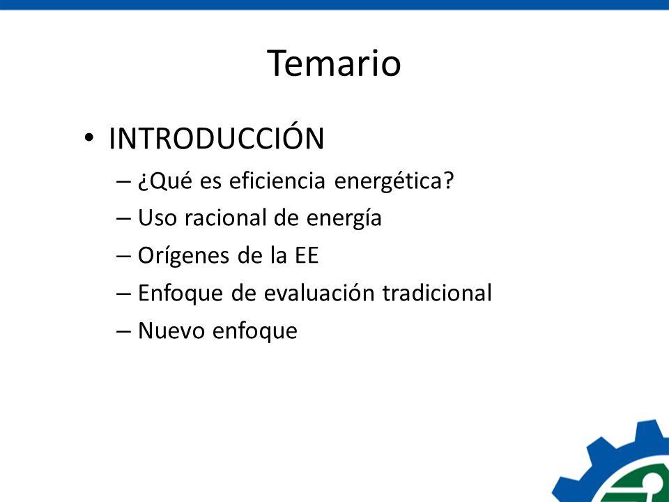 Temario INTRODUCCIÓN ¿Qué es eficiencia energética