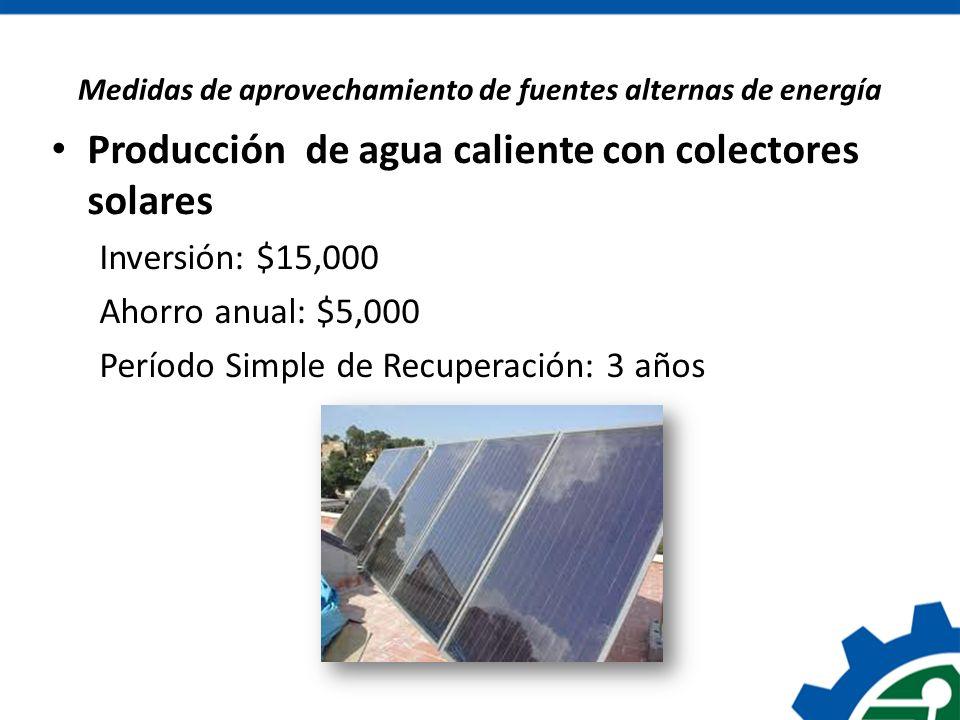 Medidas de aprovechamiento de fuentes alternas de energía
