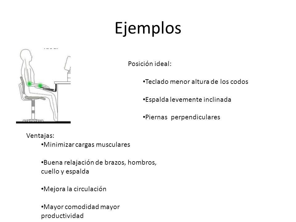 Ejemplos Posición ideal: Teclado menor altura de los codos