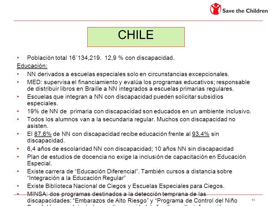 CHILE Población total 16´134,219. 12,9 % con discapacidad. Educación: