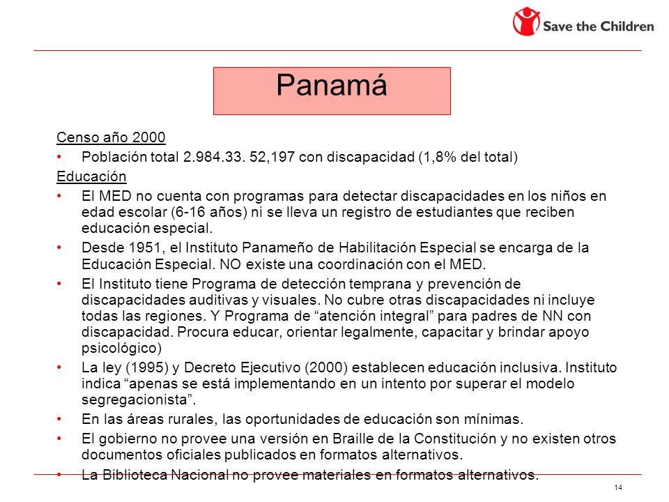 Panamá Censo año 2000. Población total 2.984.33. 52,197 con discapacidad (1,8% del total) Educación.