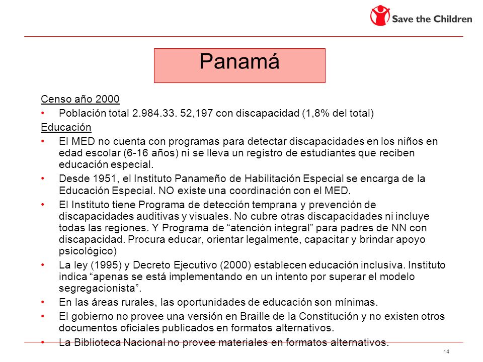 PanamáCenso año 2000. Población total 2.984.33. 52,197 con discapacidad (1,8% del total) Educación.