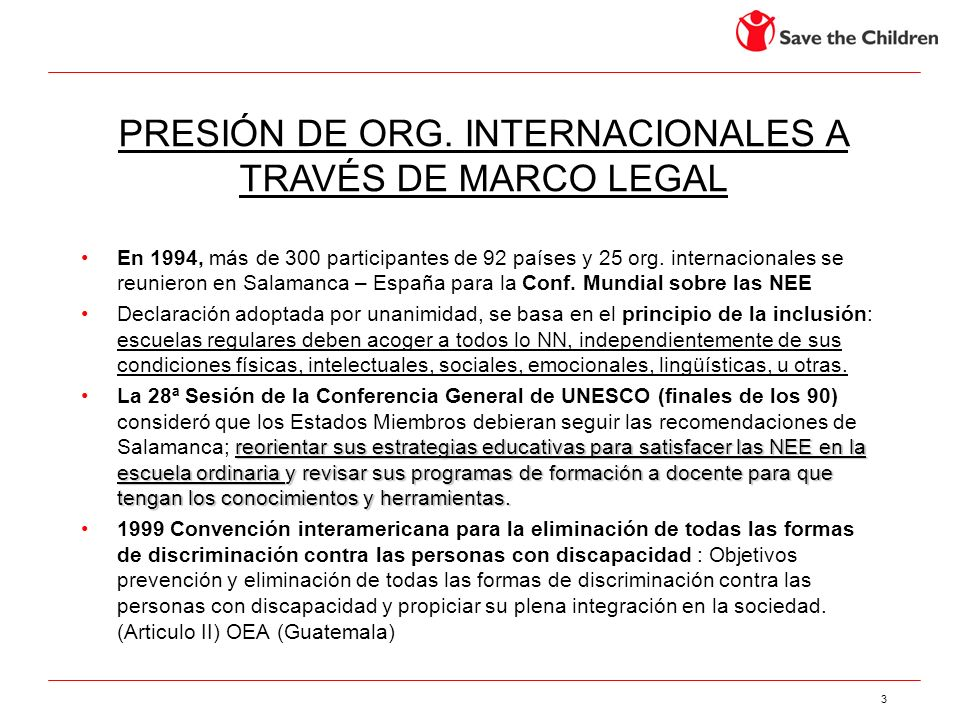 PRESIÓN DE ORG. INTERNACIONALES A TRAVÉS DE MARCO LEGAL