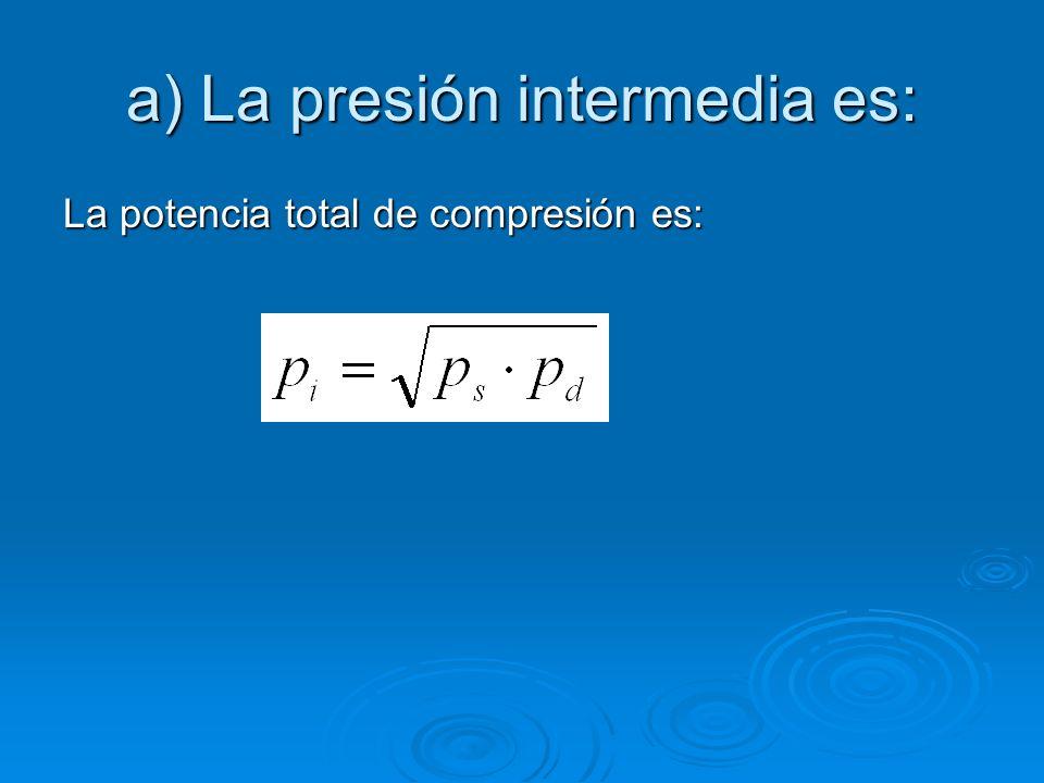 a) La presión intermedia es: