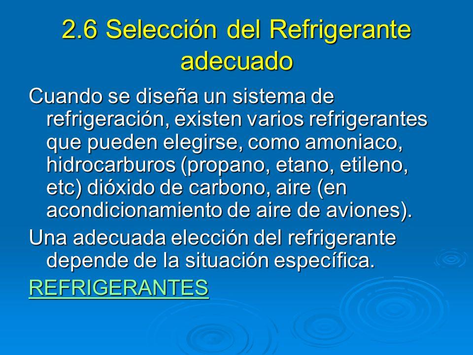 2.6 Selección del Refrigerante adecuado