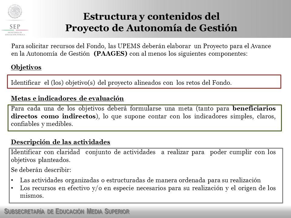 Estructura y contenidos del Proyecto de Autonomía de Gestión