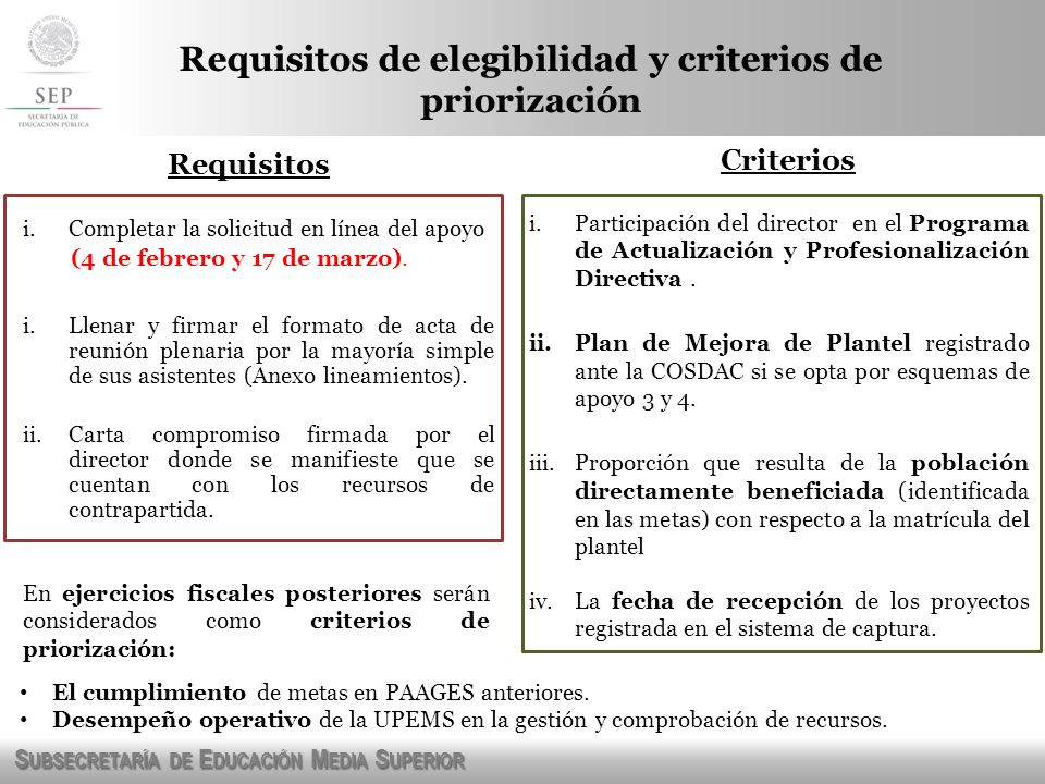 Requisitos de elegibilidad y criterios de priorización