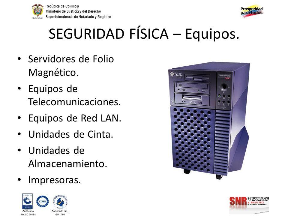 SEGURIDAD FÍSICA – Equipos.