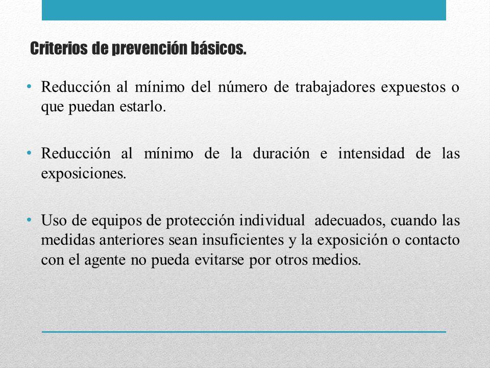 Criterios de prevención básicos.