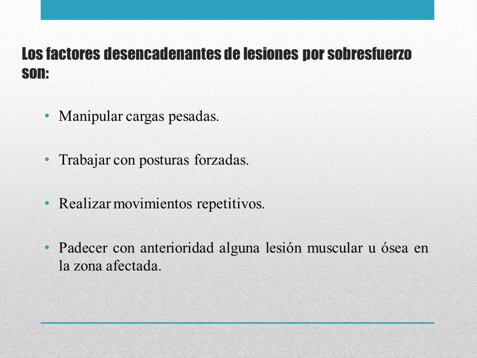 Los factores desencadenantes de lesiones por sobresfuerzo son:
