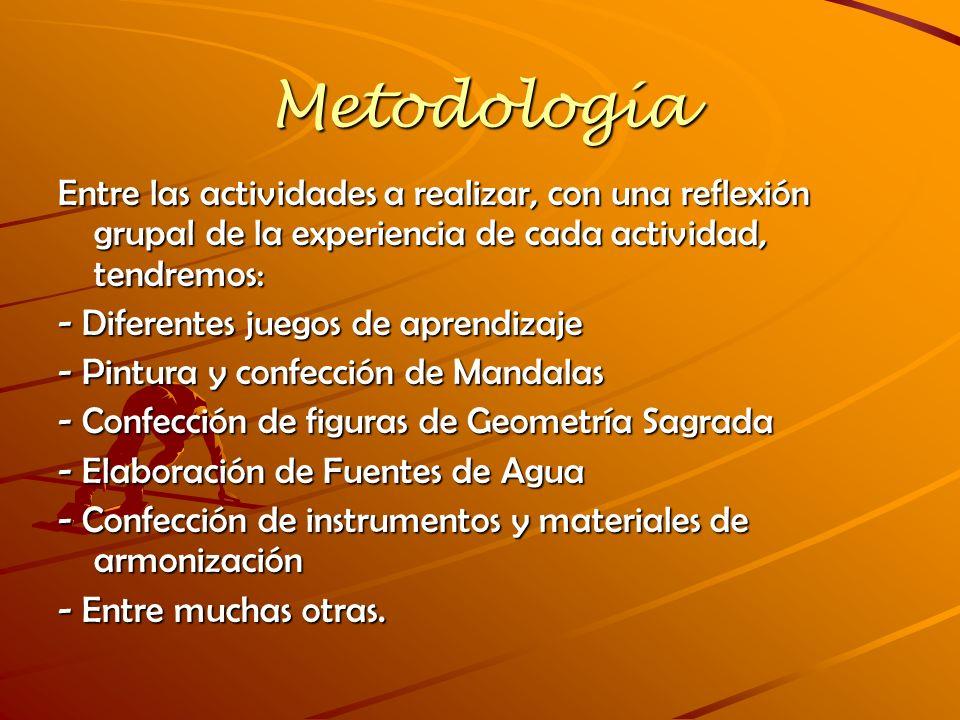 Metodología Entre las actividades a realizar, con una reflexión grupal de la experiencia de cada actividad, tendremos: