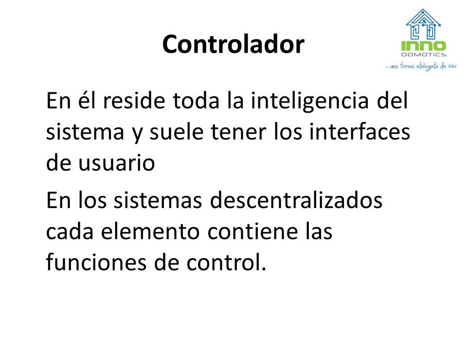 Controlador En él reside toda la inteligencia del sistema y suele tener los interfaces de usuario.
